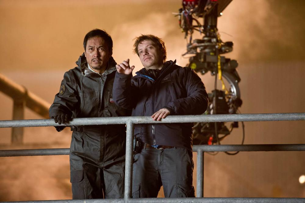 Ken Watanabe and Gareth Edwards on the  Godzilla  set in Vancouver, 2013