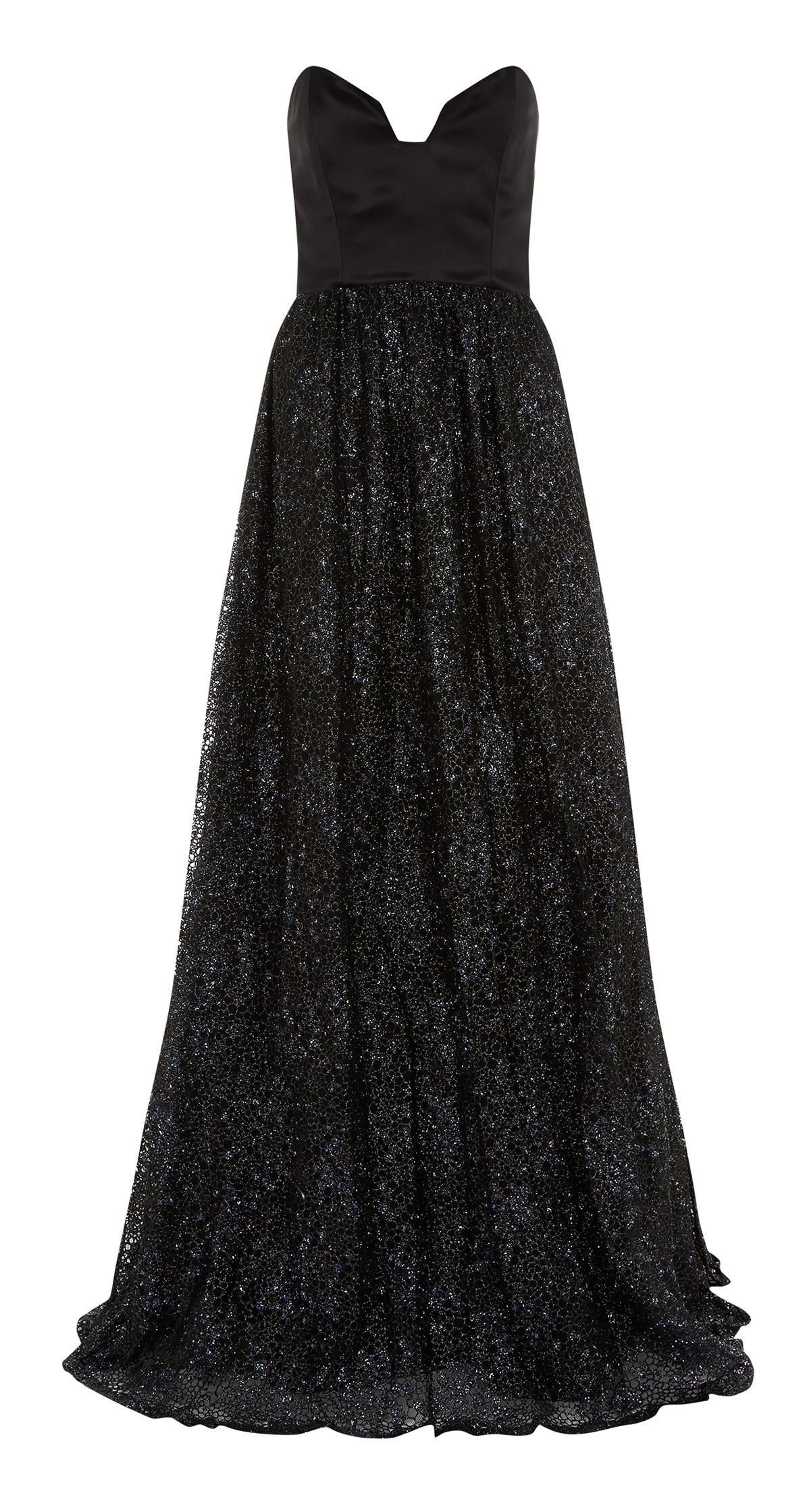 Black sparkling strapless ball gown — info@michaelafrankova.com