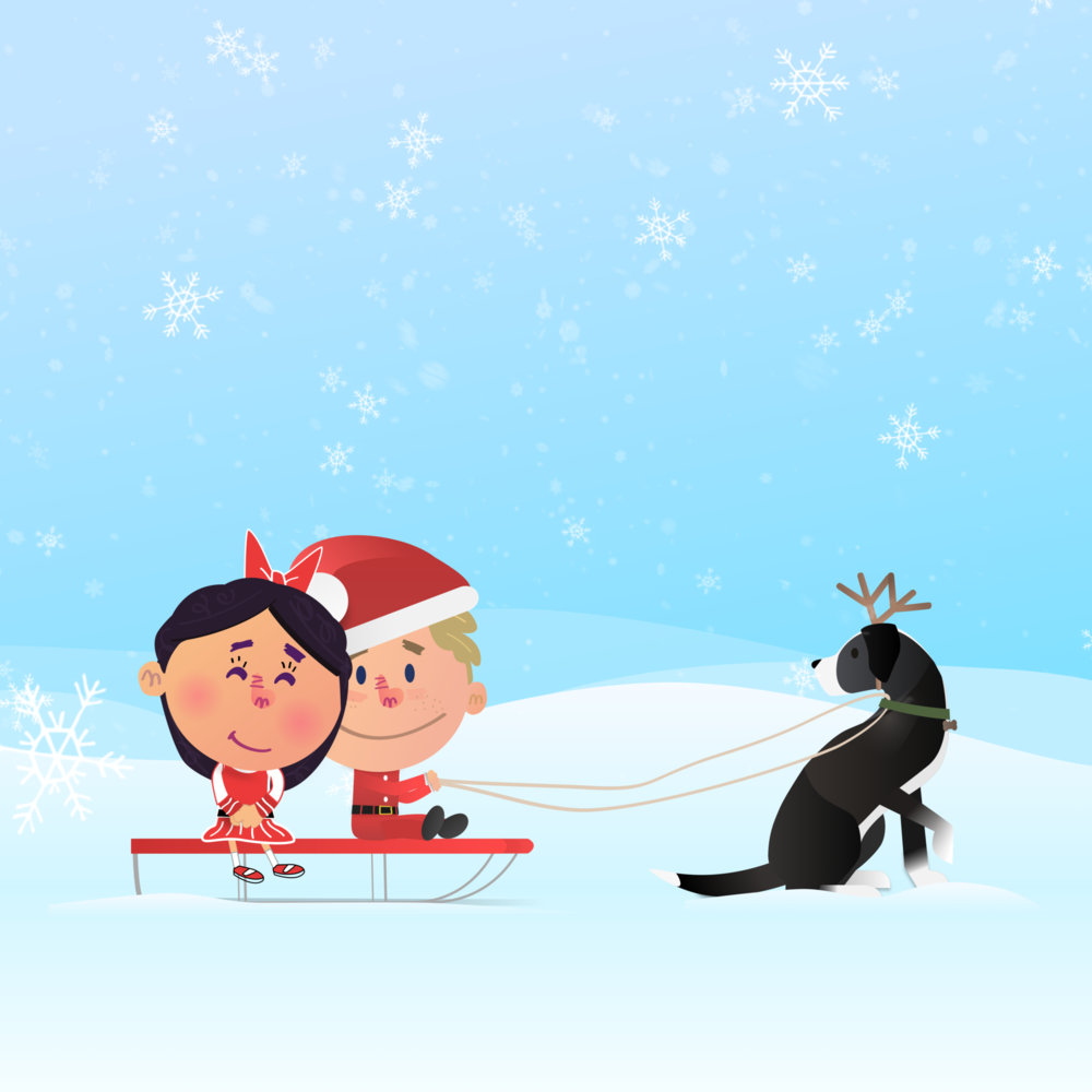Dan & Rose - Personal Illustration Project   Over the last few years, Jared has illustrated stories of he and his wife as children's book characters, Dan and Rose. While a personal project, Jared has written and illustrated books as well as many greeting cards. The image above was from his Christmas card, 2016.