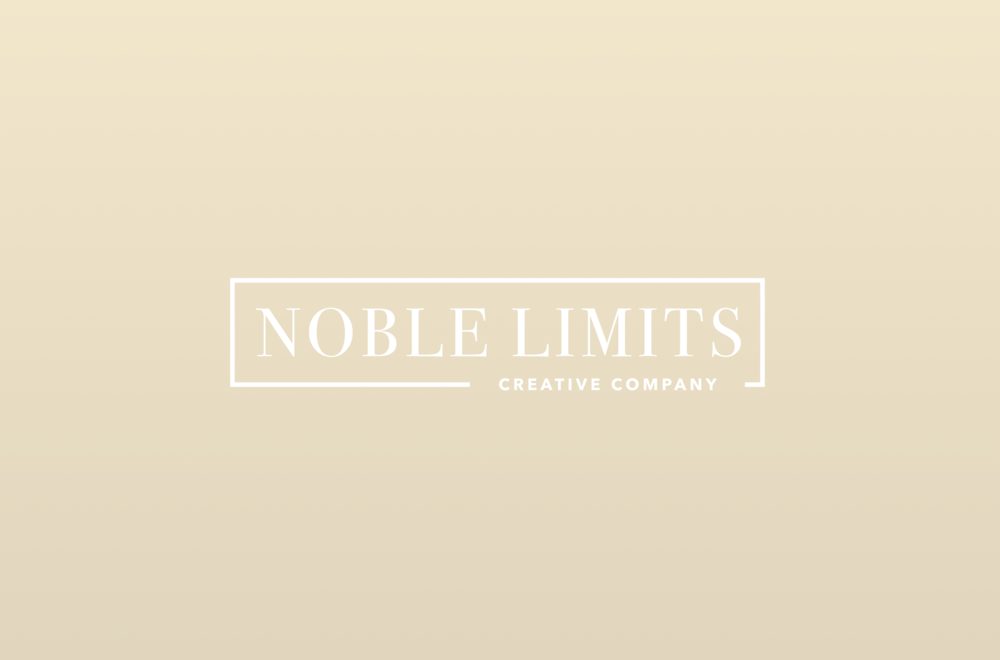 Visual Identity -   Noble Limits Creative Company   For Jared's freelance company, Noble Limits, he created a visual identity targeted specifically at wedding clients. He designed the brand to feel both elegant and modern, blending thin serif typefaces with bold, clean mid-centrury sans. The color chosen is slightly warmer than traditional champagne, aimed at evoking a sense of hospitality and professionalism.