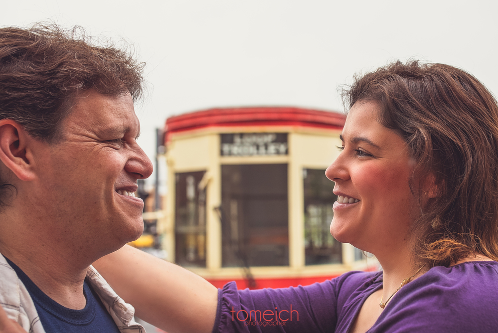 An engagement portrait at the Delmar trolley in Saint Louis, MO #delmarstl #delmartrolley #delmarengagement #tomeichphotographer
