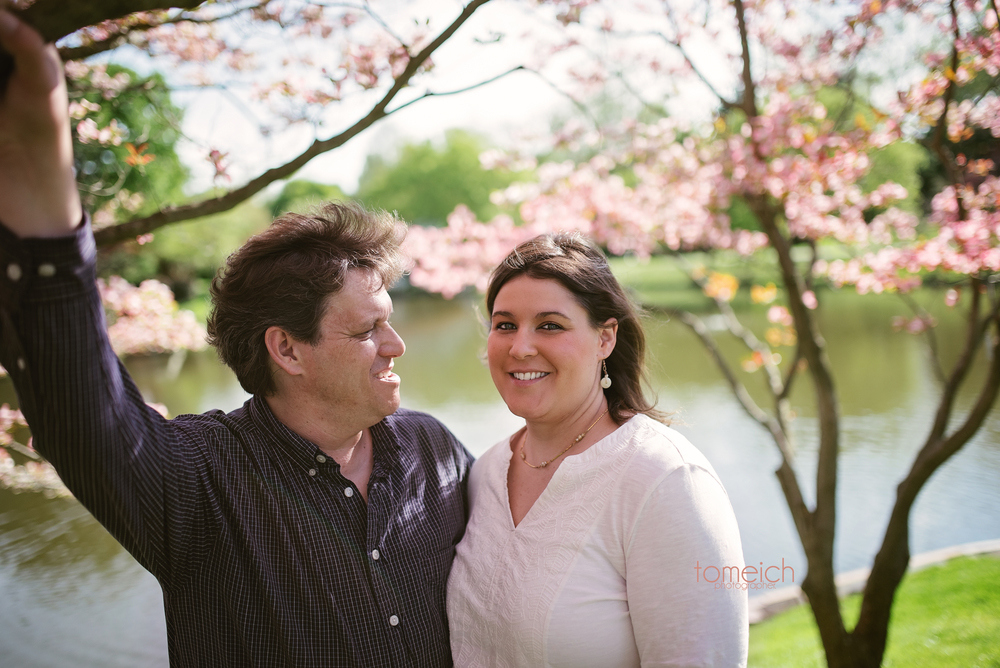 Engagement photos at St. Louis Botanical Garden. Couple at a tree with pink flowers and a pond behind them. #stlbotanicalgarden #stlcouple #engagementbotanicalgarden #tomeichphotographer