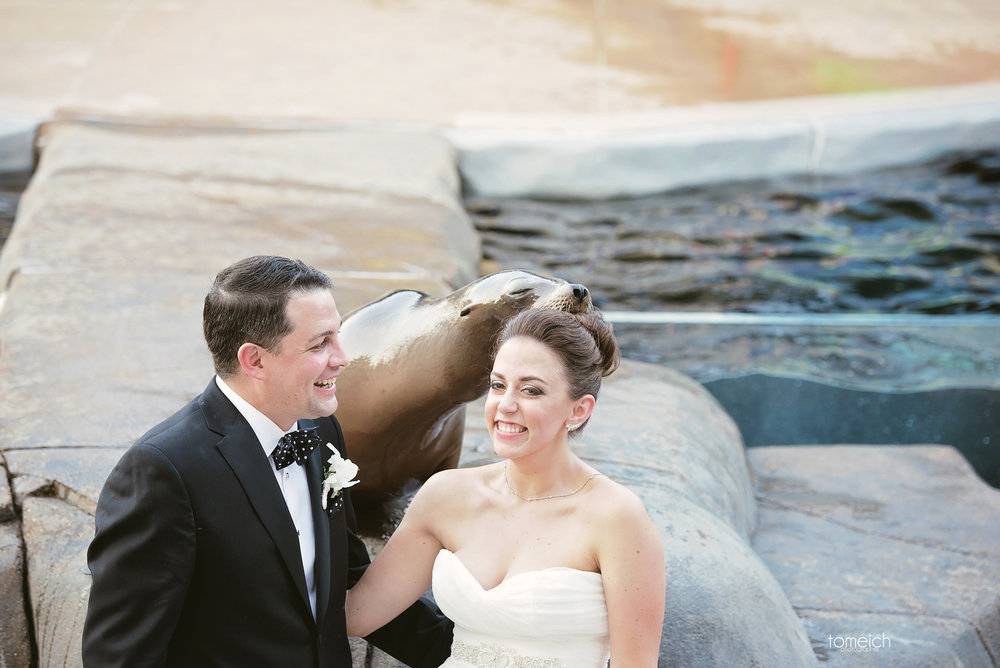 bride and groom with seal