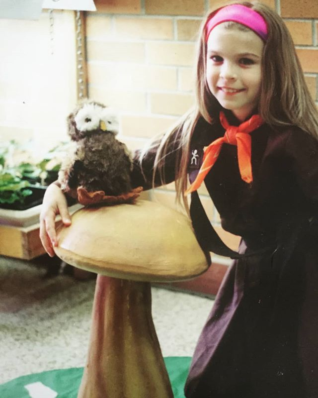 #TBT - to when I was a #Brownie. I may have grown a few feet since then, yet I still love neon pink headbands and mushrooms! ❤🍄 #brownies #gnome #toadstool #90s #BrownOwl