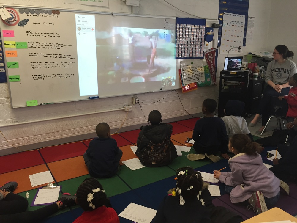 DAA second graders Skyping with two Ivory Coast residents about their access to water.