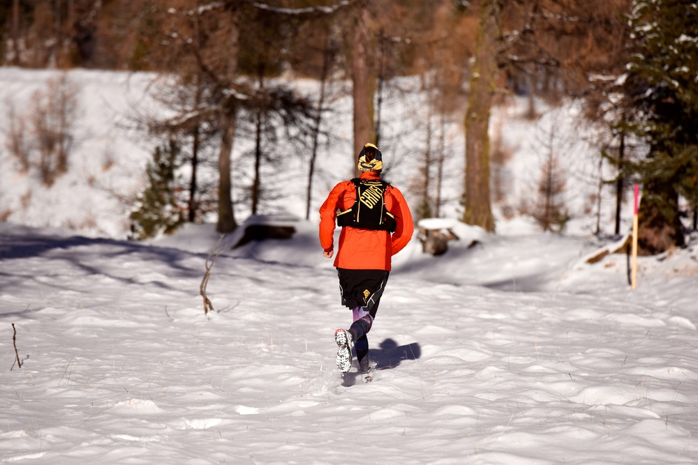 running in the Morteratsch woods (Photo: Max M)