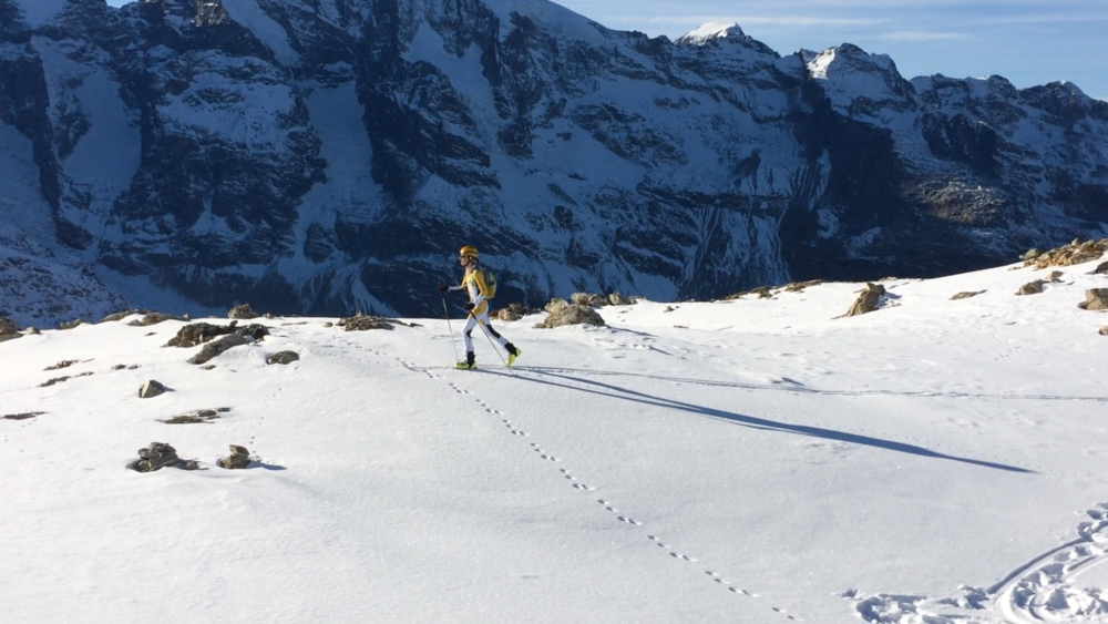 Skimo training up in the Bernina range
