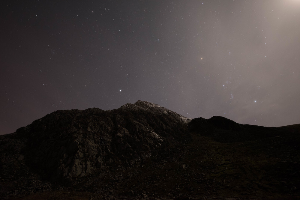 Orion's belt on the right of Tryfan on an evening stroll with the stars.