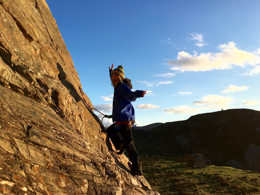Sunset slab climbing up at Penmaenbach in North Wales