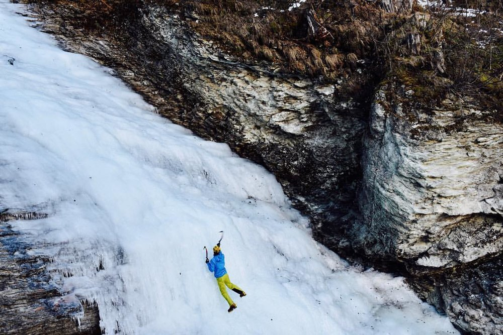 December, skiing and ice climbing on the little bit of now and ice around. Photo soloing the Silvaplana ice fall in Switzerland.