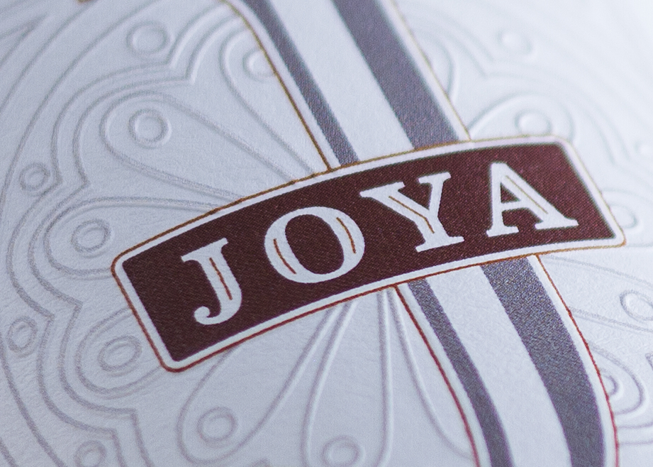 Close-up of Joya wine label