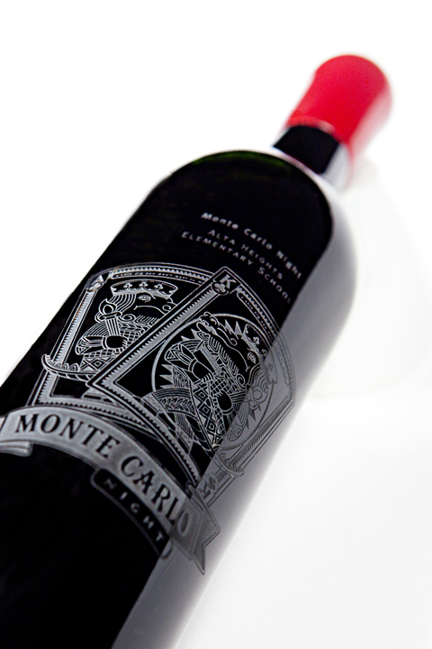 Monte Carlo Night | Etched wine bottle design