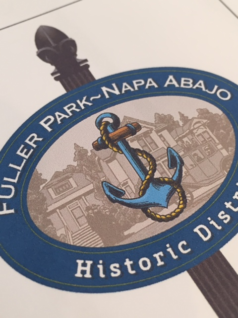 Close up of one of the proposed signs. The icon for this district will be a ship's anchor which represents the ship captains who built their grand homes near the Napa river in the mid-to-late 1800's.
