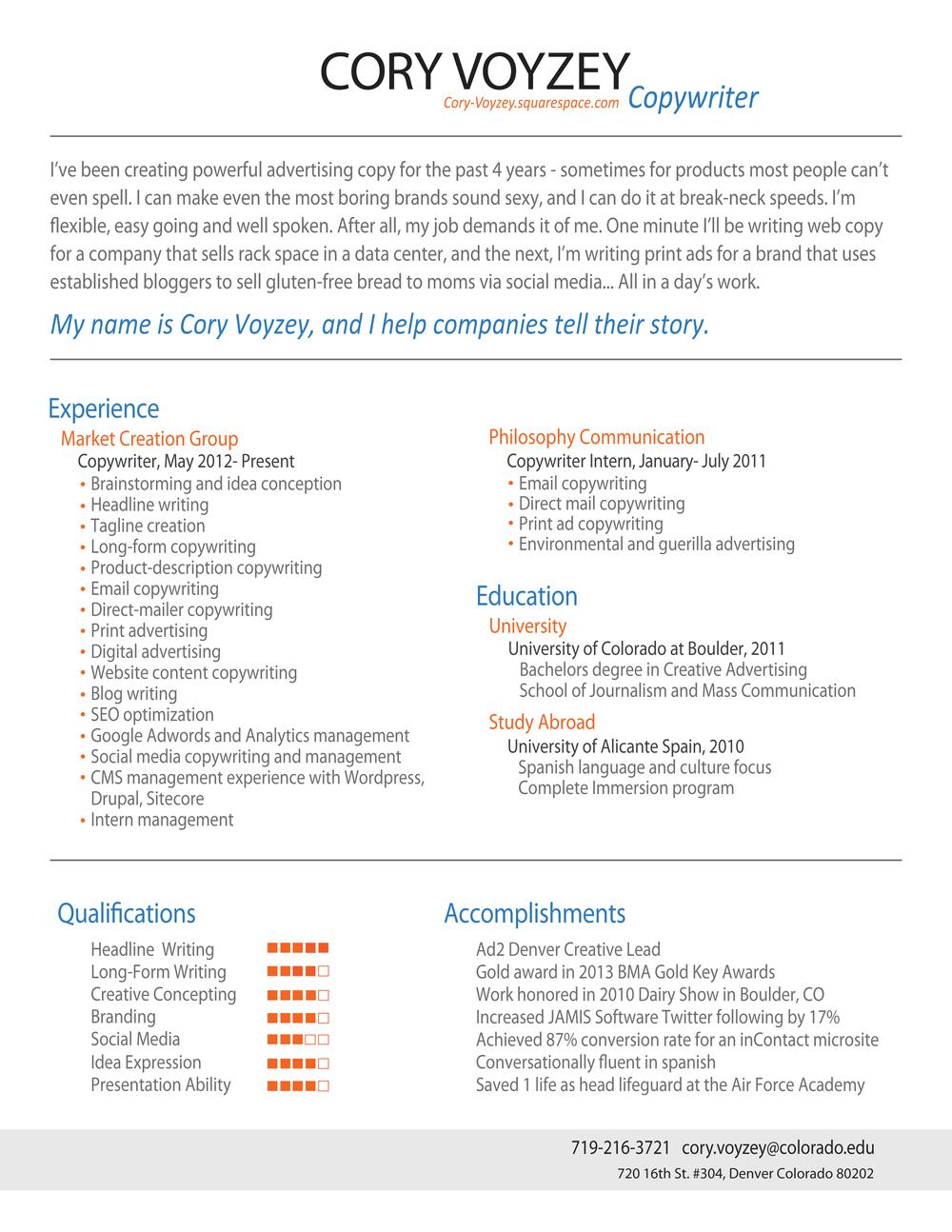 my resume cory voyzey