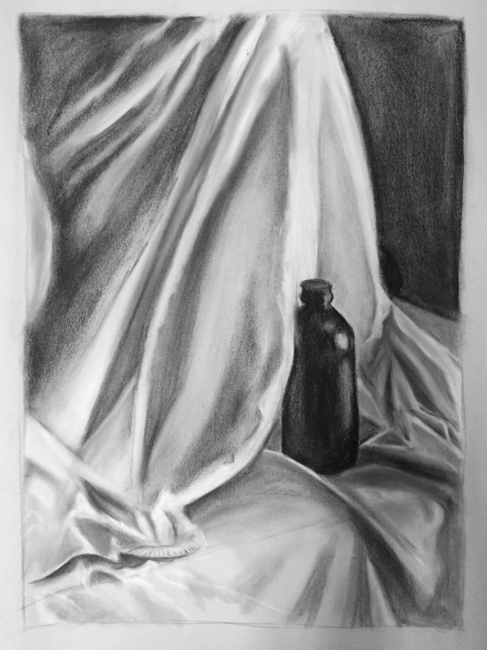 "Media: graphite on paper  Size: 18""x24""  Date: Spring 2016  Course Name: Perceptual Drawing  Assignment: In-Class Still Life  Level: 2000"