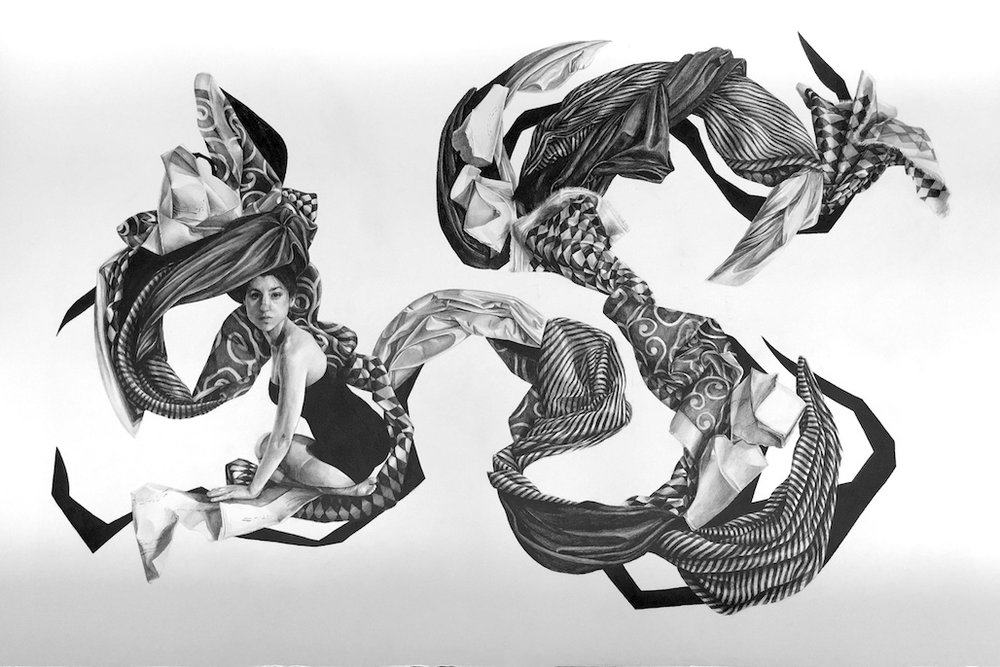 """Massive drawings by Brianna Angelakis are absorbing self-portraits, placing the artist among contorted shapes and forms. The graphite work impresses at any distance, and in a statement, the artist explains her pursuit in these portraits and her own state as being 'transfixed by beauty, I remain stationary amid the nonsensical world. Through a metamorphosis, my past failures transform into elements of beauty, as I become a fantastical monument to my vexation, acting within the spectacle of the absurd.'""   by Andy Smith via  Hi-Fructose Magazine"
