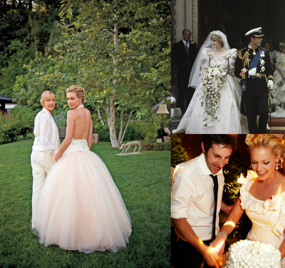 1. Ellen DeGeneres and Portia de Rossi.  2. Prince Charles with Diana Gales.  3. Katherine Heigl with Josh Kelley.