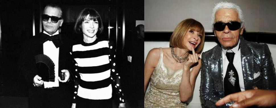 Anna Wintour and Karl Lagerfeld, always friends, before and after.