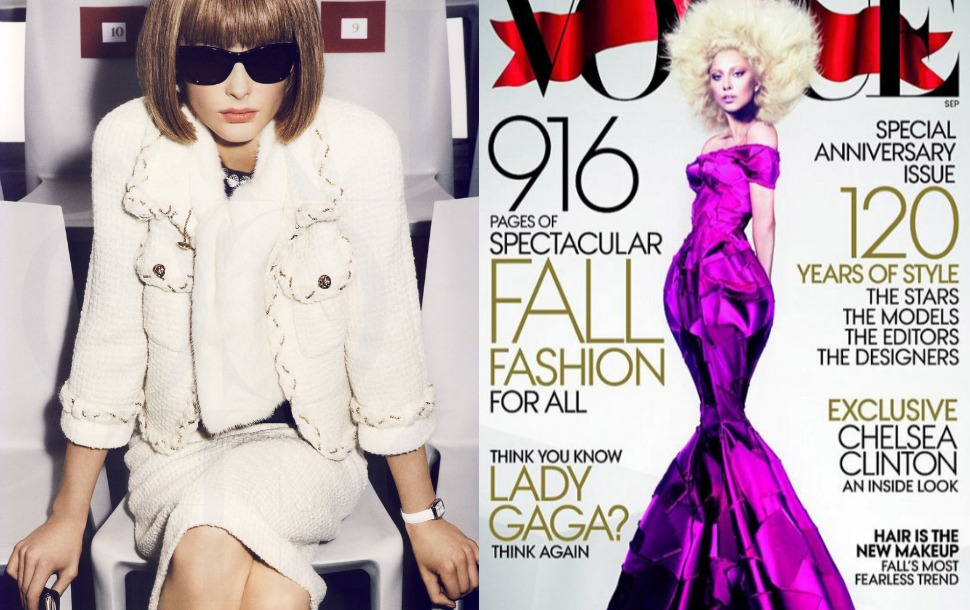 1. Anna Wintour l´icone editorial by Mario Testino.   2. Cover 120th Aniversary Vogue USA with Lady Gaga.