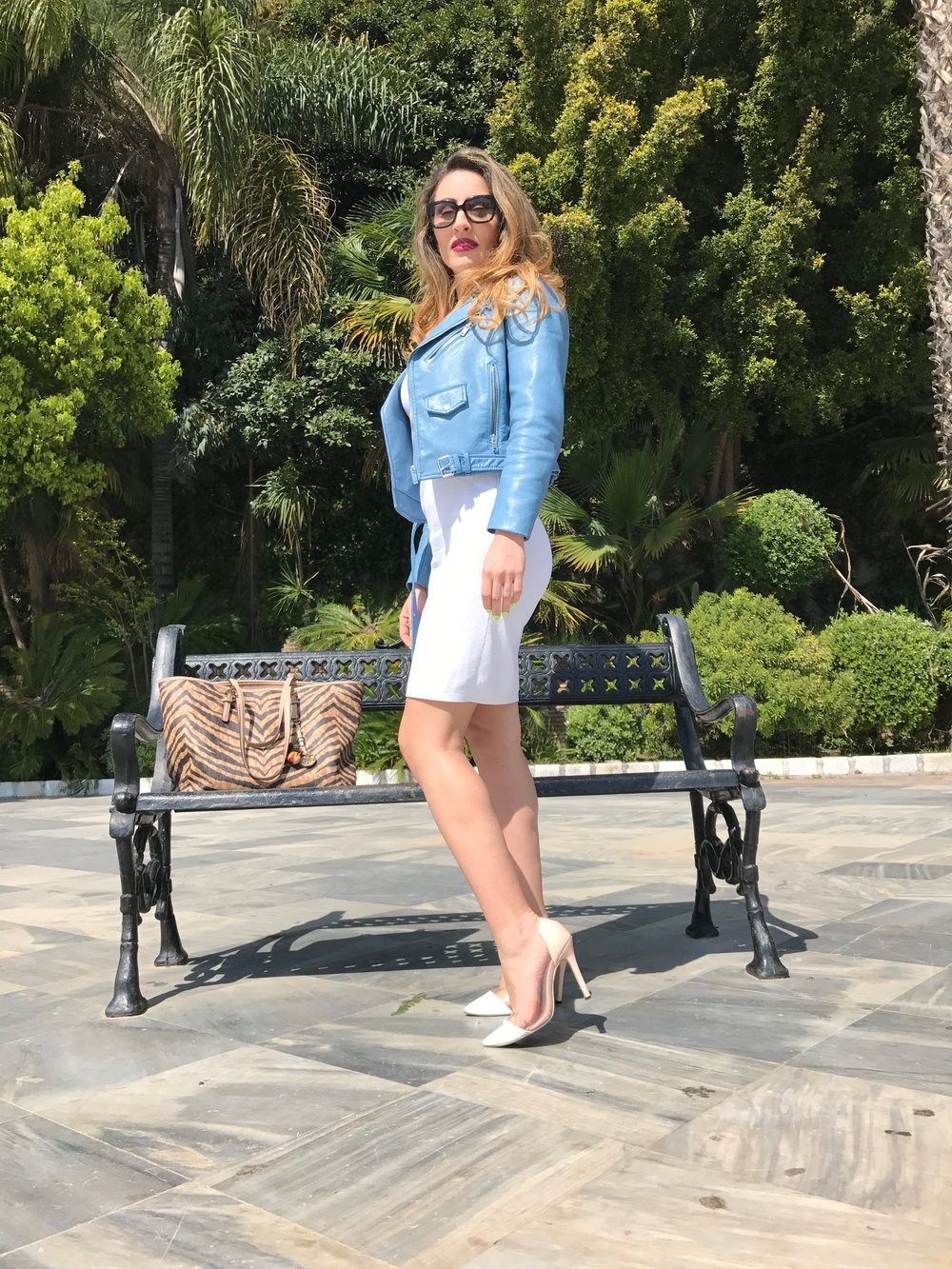 BLUE-LEATHER-JACKET-WHITE-DRESS-SPRING-OUTFIT