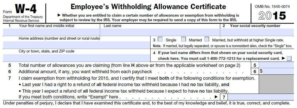 IRS Form W-4.  You fill this out when you start a new job or switch payroll providers at work.