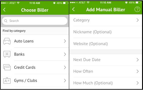 You can add billers 1 of 2 ways: by using their search function (left) or manually (right)