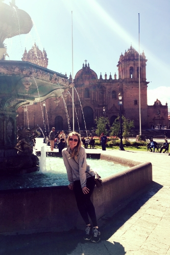 Exploring Plaza de Armas on the first day of our trip.