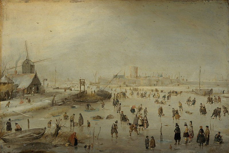 A painting from 1630 by Hendrik Avercamp showing 'Kolf' being played on ice in the Netherlands.