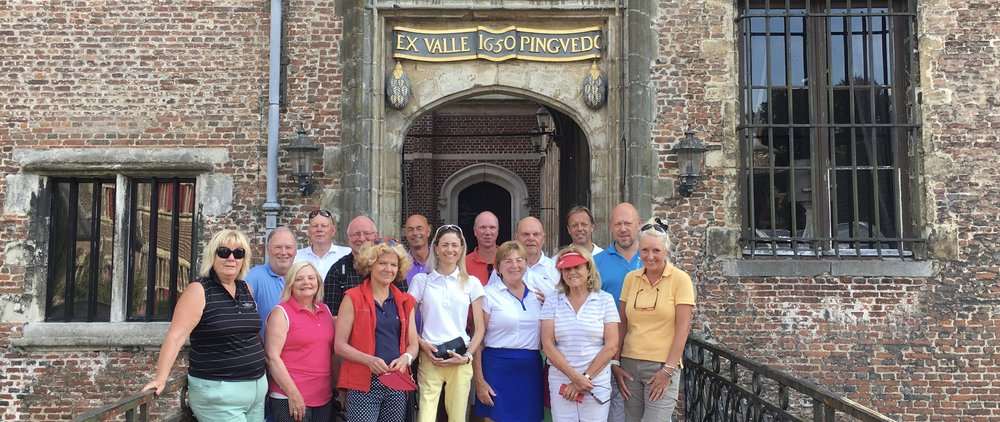 EGTMA Members in front of 14th century Cleydael Castle, Belgium