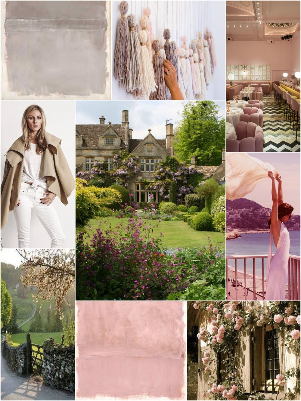 Photos (clockwise from upper left):  Mark Rothko  Untiled Grey Painting 1969 |  Honestly WTF  |  Sketch London  |  For Lovers Only  |  English Country Side  |  Mark Rothko  Pink On Pink 1953 |  Primrose Garden  |  Olivia Palermo  |  Barnsley House