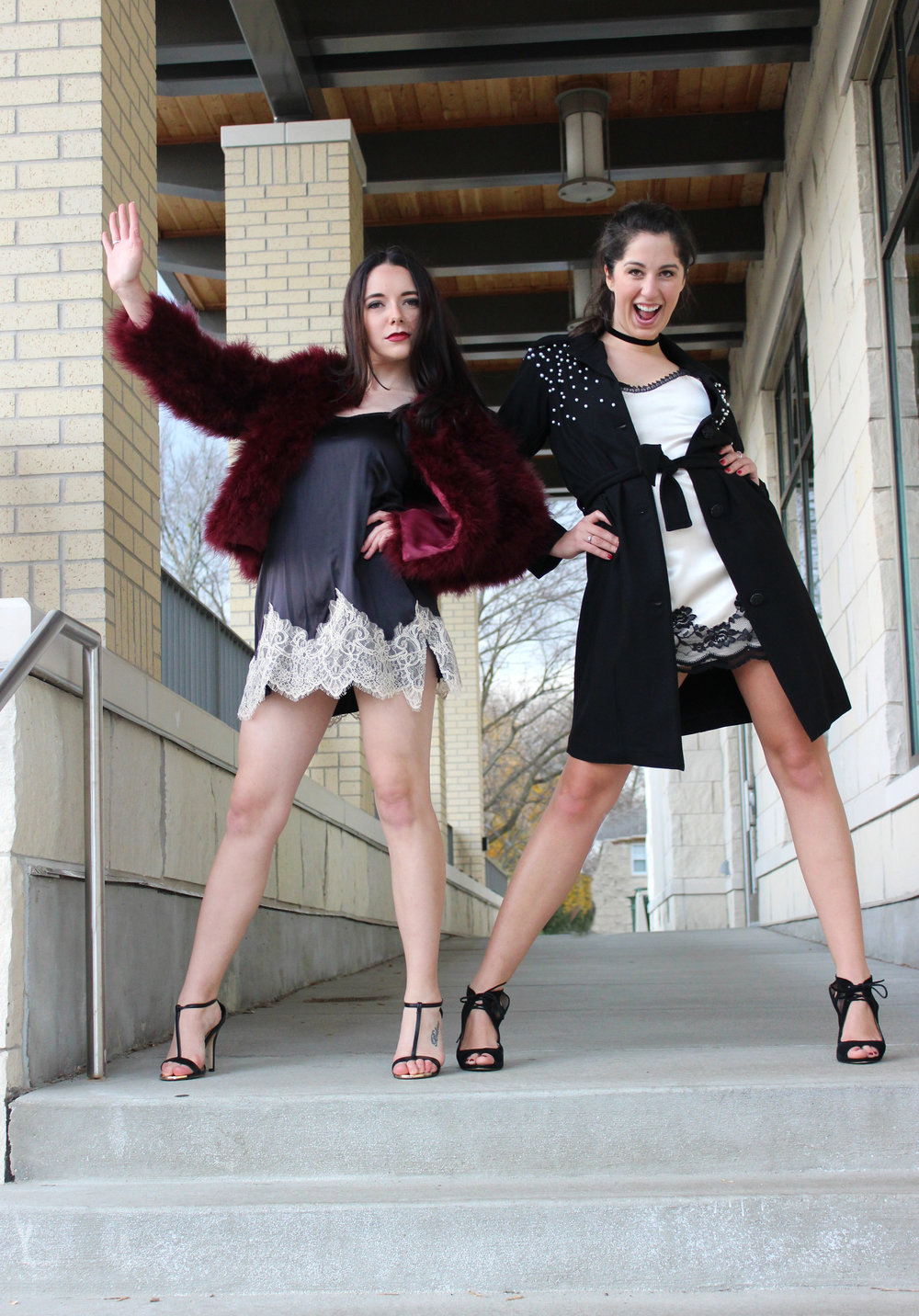 Courtney Pelot + Madalyn Manzeck photographed by  Cassie Sterwald  in Cedarburg, WI in 2016.   Slips + Black Coat Madalyn Joy Designs | Feather Coat Line + Dot | Madalyn's Black Heels Nine West | Courtney's Black Heels Call It Spring