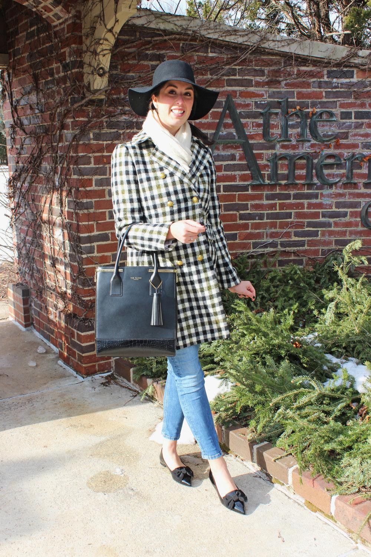 Madalyn Manzeck photographed by Cassie Sterwald at The American Club in Kohler, WI in 2017.  Coat J. Crew | Jeans Zara | Flats M. Gemi | Handbag Ted Baker | Hat Francesa's | Earrings Kate Spade | Hair Bow J. Crew