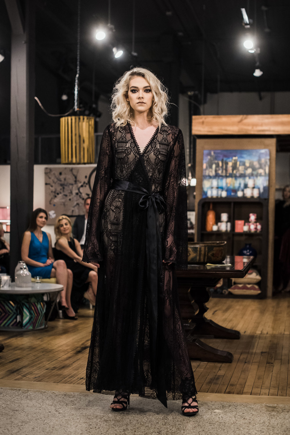 Nicole Petrie wearing the Valentina Lace Robe // PC: Roost Photography