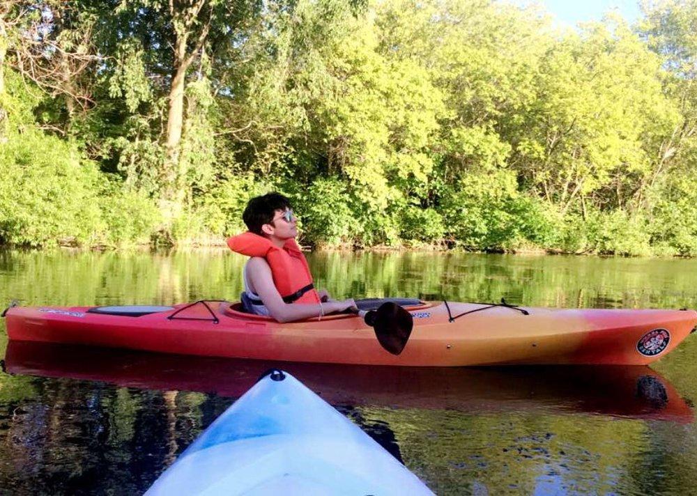 Vanali enjoying a leisurely kayak ride near Milwaukee's Lakefront.