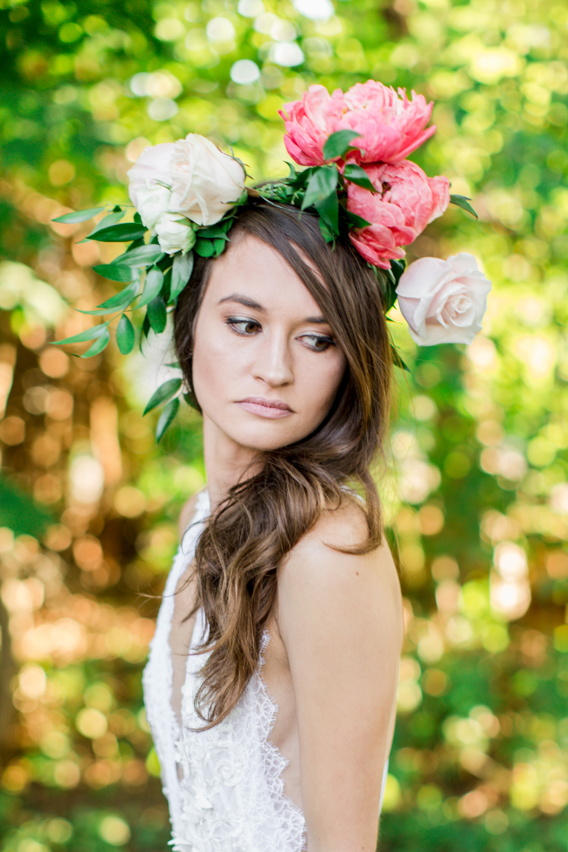 Marni Hoest rocking a La Tulipe flower crown and Madalyn Joy Designs nightgown.