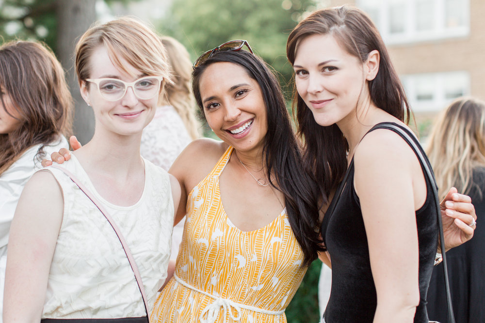 Lottie Lillian  (center), the talented photographer who captured the entire evening, posing with  Unadorned Magazine co-founders, Georgia Lloyd and Sarah Glick.
