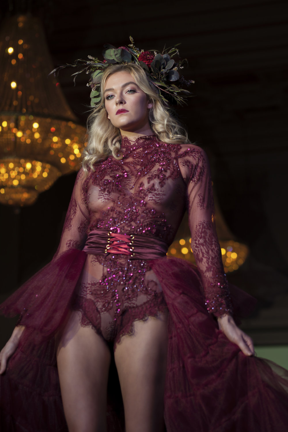 The stunning Nicole Petrie closed the set with a glamorous hand appliqued lace bodysuit and tiered tulle skirt made of 120 yards of tulle.