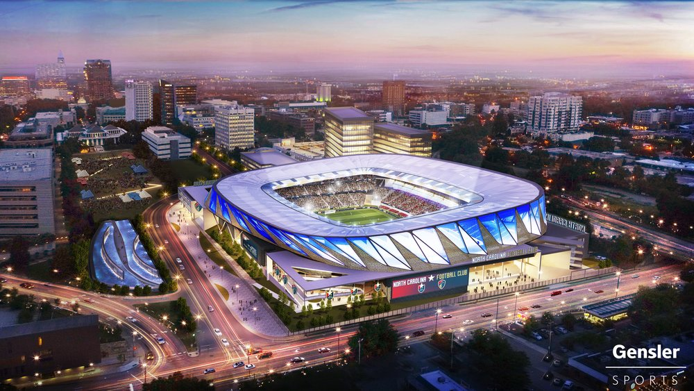 Artist rendering the proposed NCFC stadium just North of the Capital Building in downtown Raleigh