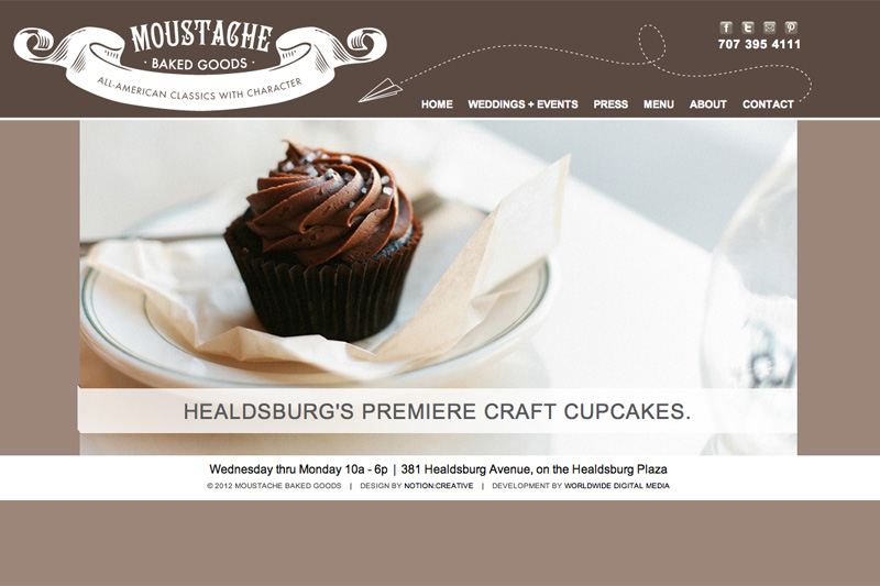 Moustache Baked Goods new homepage