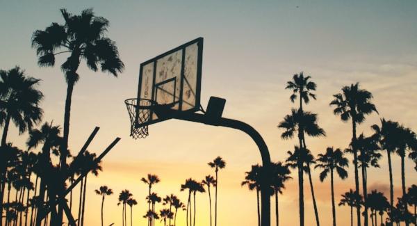 Basketball hoop in sunset