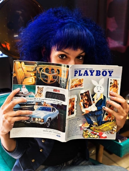 """""""The best articles are found In this 1973 Playboy when waiting for your appointment. Photo courtesy Inked Kitty's Hair Lounge, Model  Vixen Grimm"""