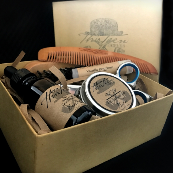 Vanilla Bourbon Beard Grooming Kit Thirteen Thieves