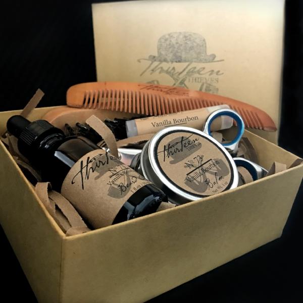 Vanilla Bourbon Beard Grooming Kit Thirteen Thieves