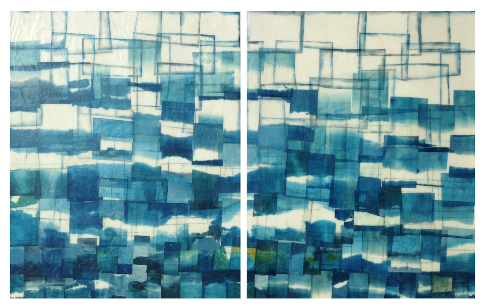 "Sea Scape, 2013 Encaustic, Mulberry Paper, Watercolor 52"" x 24"" x 1"" SOLD"