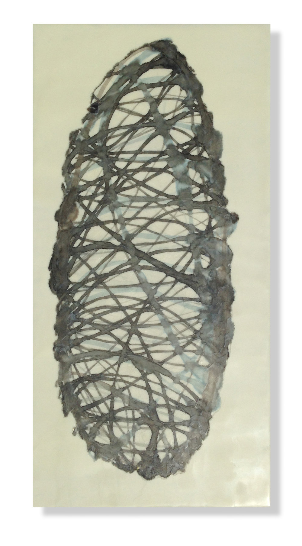 "Cocoon 3, 2014 Encaustic, Mulberry Paper, Watercolor 12"" x 24"" x 1"" SOLD"