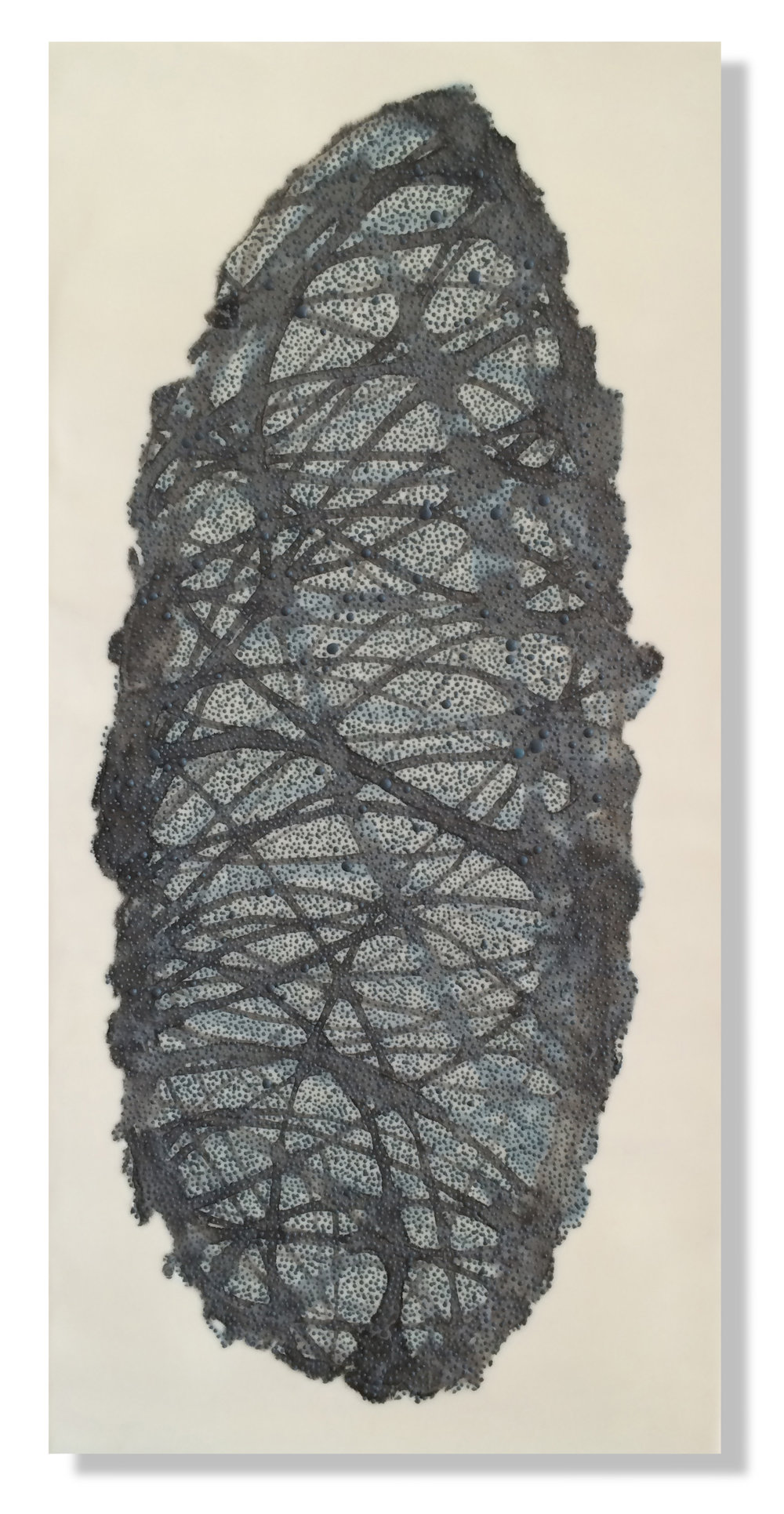 "Cocoon 3B, 2015 Encaustic, Mulberry Paper, Watercolor 12"" x 24"" x 1"" SOLD"