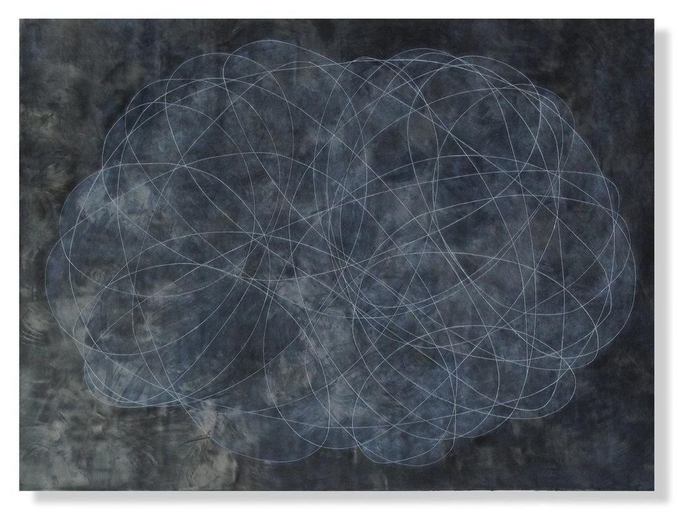 """Encircle 3 4' x 3 x 2"""" Encaustic, Mulberry Paper, Watercolor"""