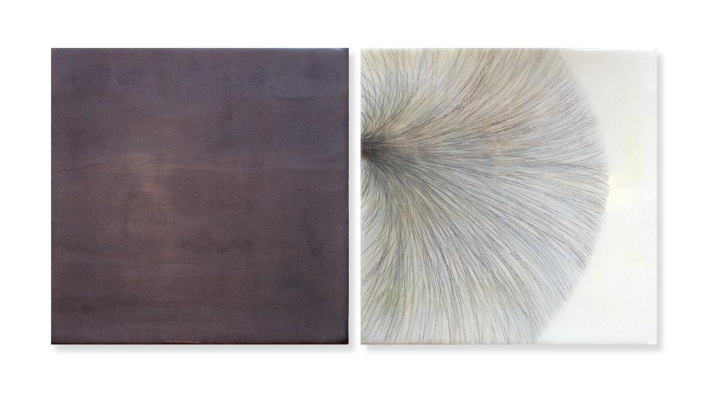 "Burst, 2014 Encaustic, Oil 24"" x 24""x 1"""