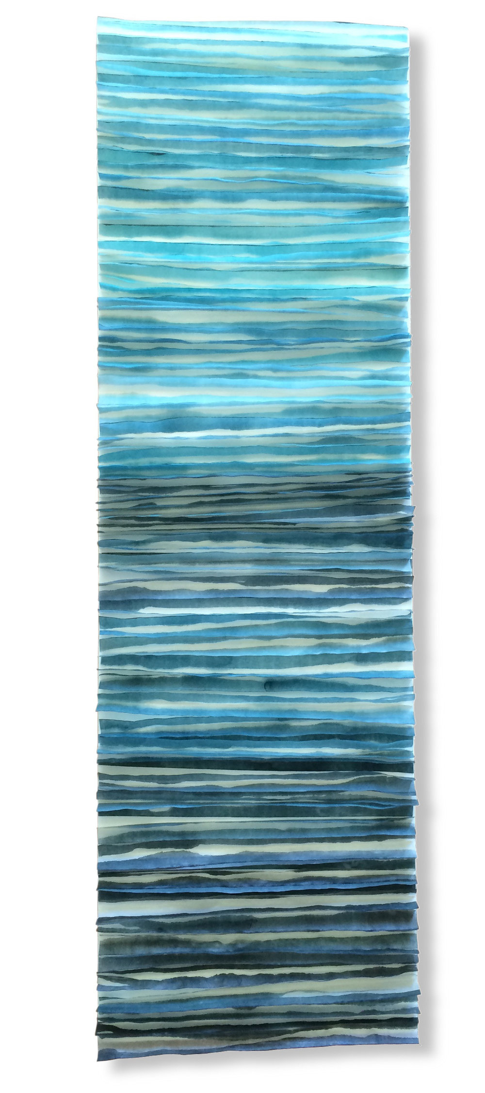 """Wallow, 2016 Encaustic, Japanese Mulberry Paper, Watercolor 15"""" x 48"""" x 1.5"""" Commission"""