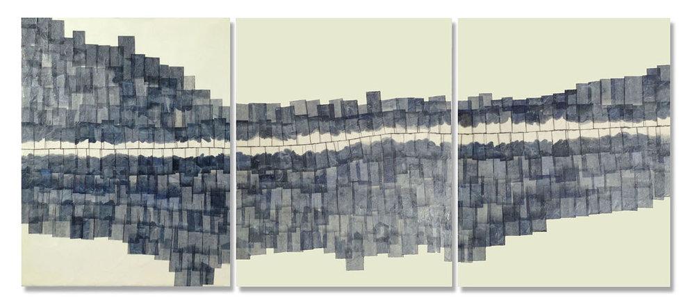 "Meander, 2014 Encaustic, Mulberry Paper, Watercolor 48"" x 16""x 1"" SOLD"